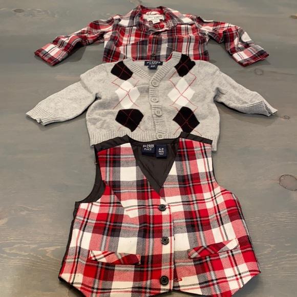 6-9 months trio set!  Vest, button up & cardigan!